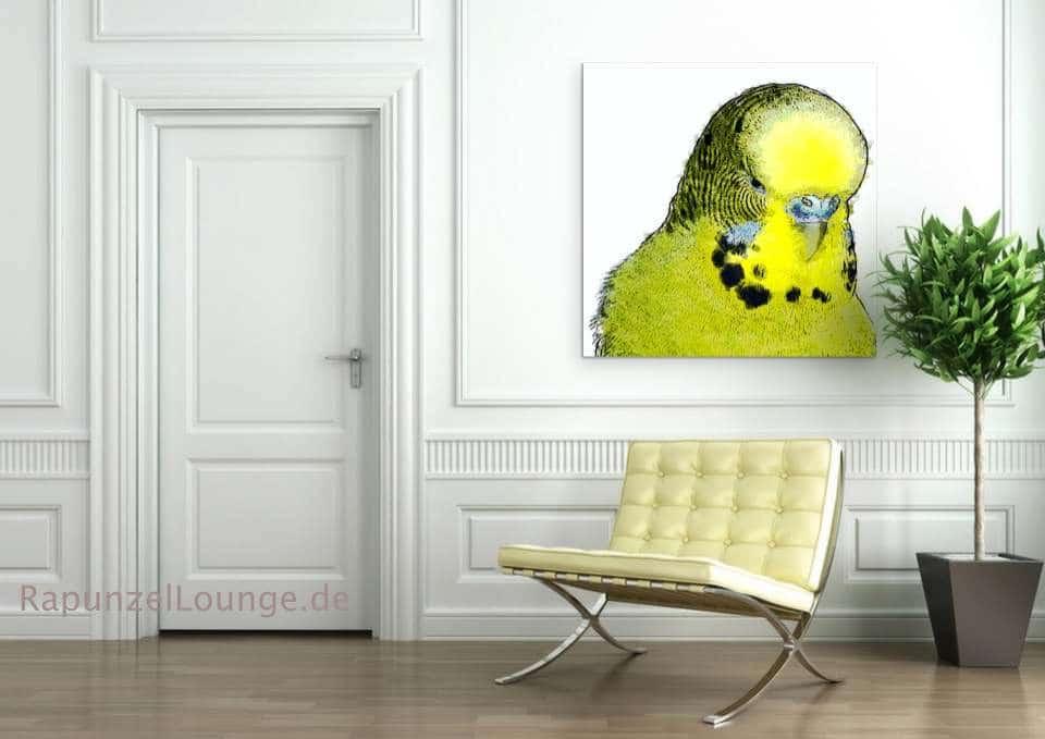 Krafttier Wellensittich Wandbild bei Rapunzel-Lounge