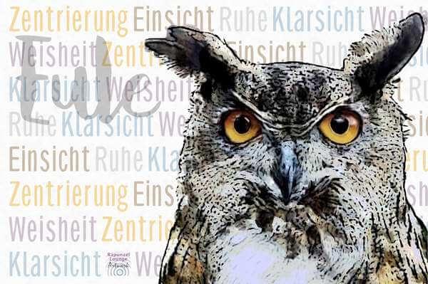 Krafttier EULE Uhu mit Resonanzen als Poster oder Wandbild