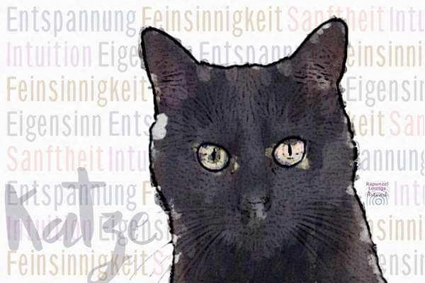 Krafttier KATZE schwarz mit Resonanzen als Poster oder Wandbild
