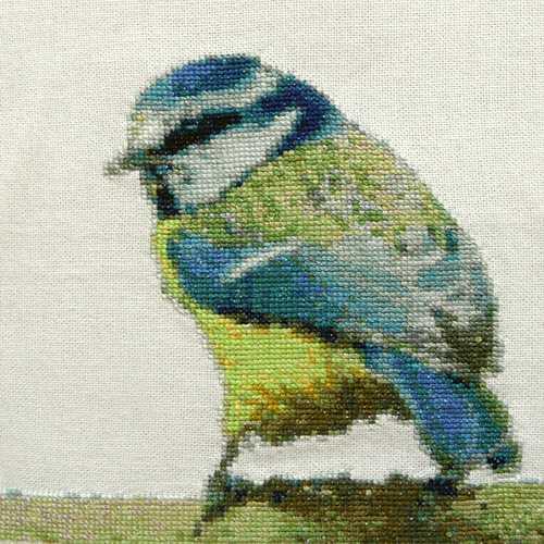 Krafttiere Stickbilder Kreuzstich - Stickbild Krafttier Meise Blaumeise