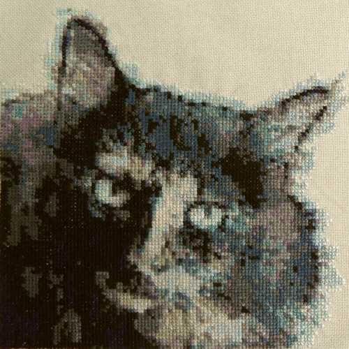 Krafttiere Stickbilder Kreuzstich - Stickbild Krafttier Katze langhaar